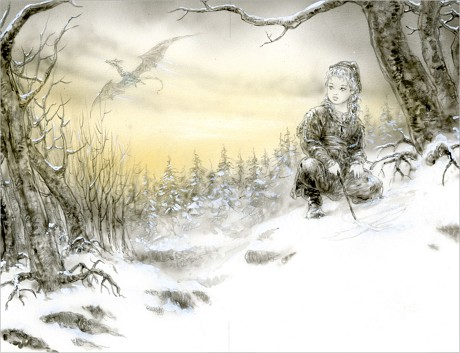 A sketch by Luis Royo for 'The Ice Dragon' (Tor Books)